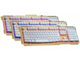 [土豪金]LX-100 狼蝎合金氧化拉丝面板/悬浮键帽/缝隙三色发光/底部铁板游戏键盘[USB]