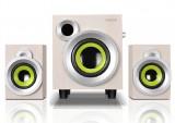 [特价白色]E300PLUS 恩科时尚多媒体电脑音箱木质2.1低音炮