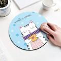 天蓝色咖啡猫圆形鼠标垫