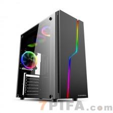 游戏风暴雷霆T5 台式机 玻璃全侧透ATX游戏机箱家用时尚RGB大机